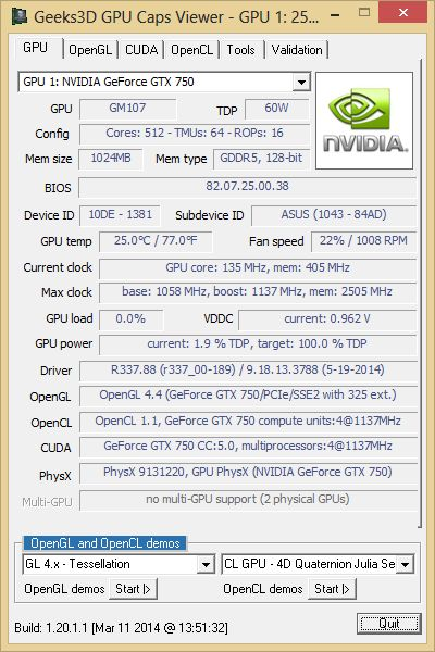 GPU Caps Viewer, GeForce GTX 750 + R337.88