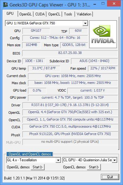 NVIDIA R337.81 + GPU Caps Viewer + GTX 750