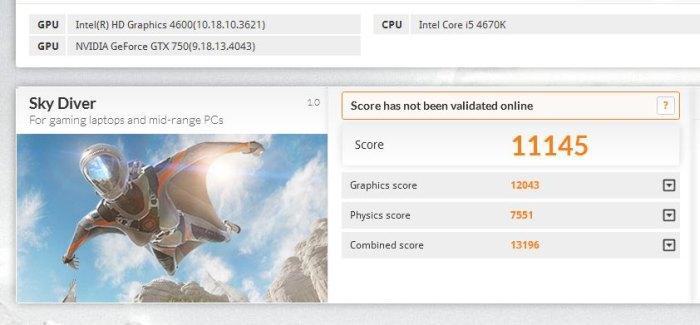 3DMark Sky Diver score, GeForce GTX 750