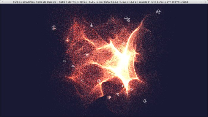 GLSL Hacker - Particle simulation with GPU buffers and OpenGL 4.3 compute shaders under Linux