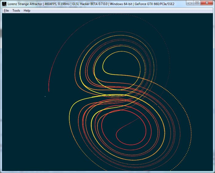 GLSL Hacker - Lorenz attractor - butterfly effect