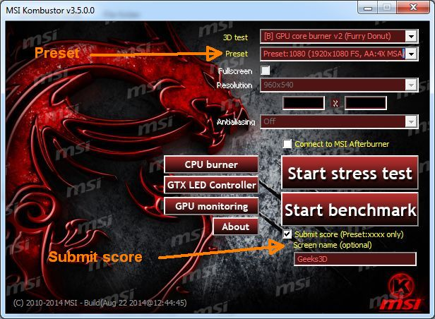 MSI Kombustor - main user interface