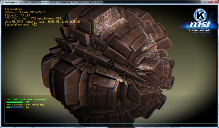 MSI Kombustor, OpenGL tessellation test