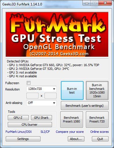 FurMark, main user interface