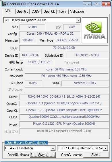 NVIDIA Quadro 3000M - GPU Caps Viewer