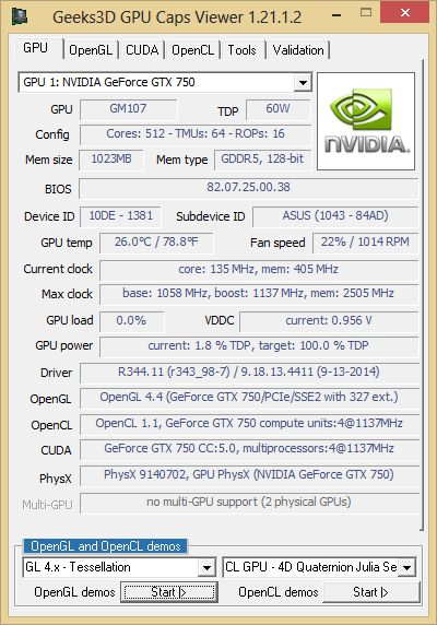 NVIDIA GeForce GTX 750, R344.1 - GPU Caps Viewer info