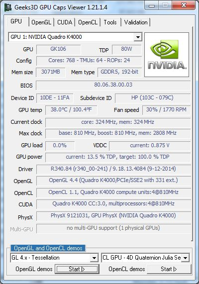 NVIDIA Quadro K4000 - GPU Caps Viewer