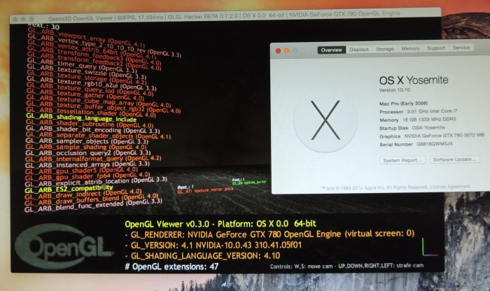 OS X 10.10 Yosemite - OpenGL extensions for a GeForce GTX 780