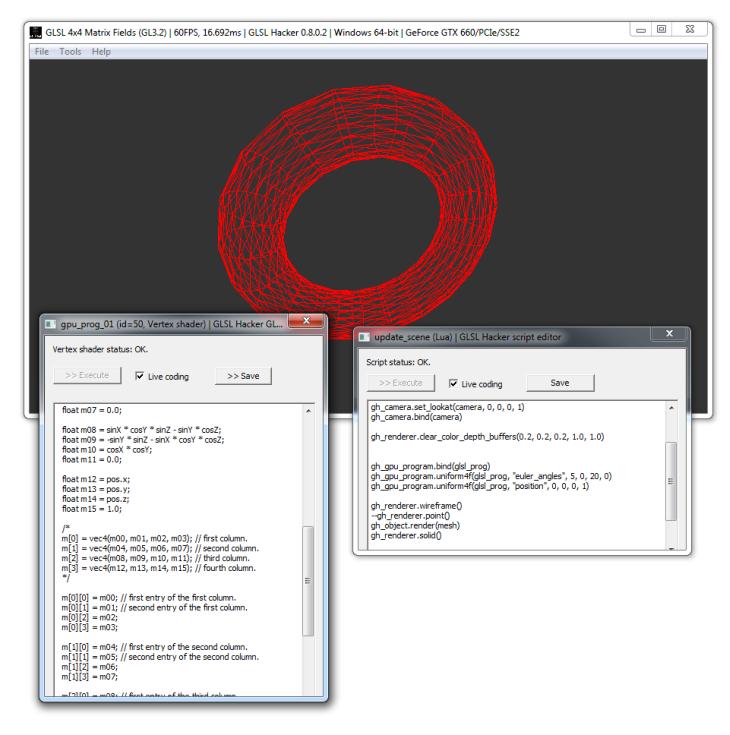 GLSL Hacker - 4x4 transformation matrix demo