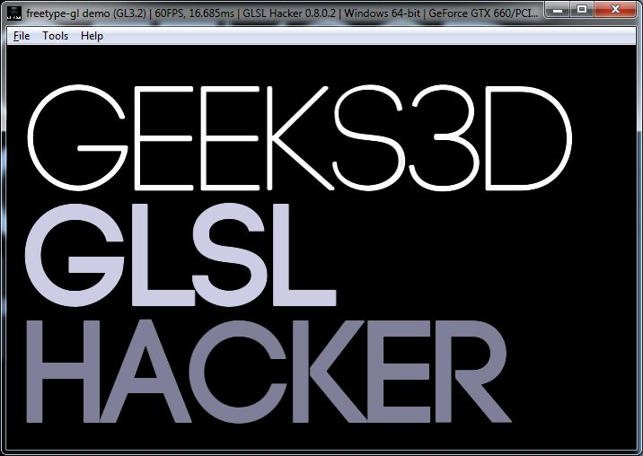 true type font test - GLSL Hacker / FreeType-GL plugin