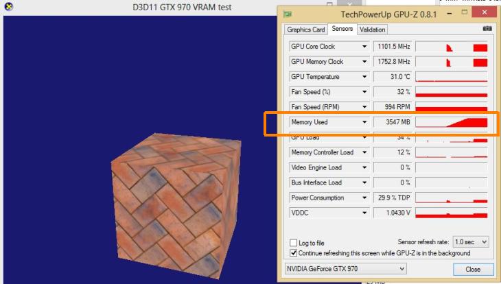 GeForce GTX 970 VRAM allocation test in Direct3D