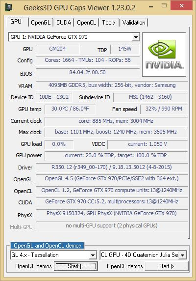 GPU Caps Viewer + GTX 970 + R350.12