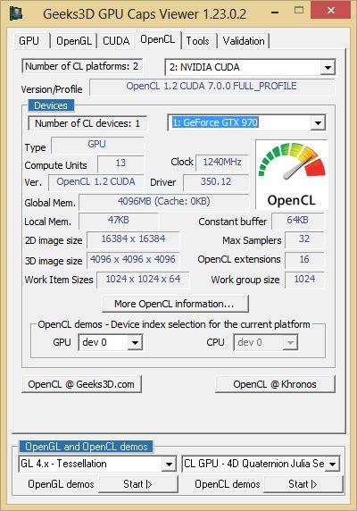 GPU Caps Viewer + GTX 970 + R350.12 + OpenCL panel