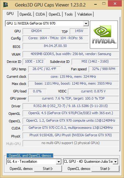 NVIDIA R352.86 - GPU Caps Viewer - GTX 970