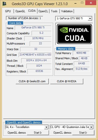 ASUS GTX 980 Ti - GPU Caps Viewer - CUDA