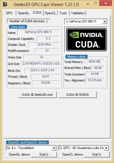 ASUS GTX 980 Ti - GPU Caps Viewer - CUDA