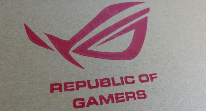 ASUS ROG logo on carton box