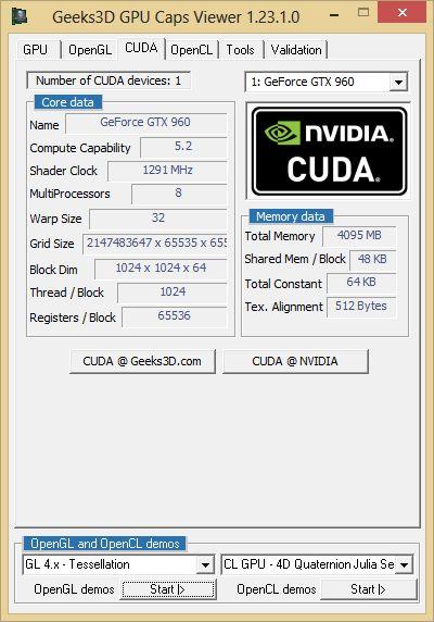 ASUS Strix GTX 960 DirectCU2 OC 4GB - GPU Caps Viewer - CUDA