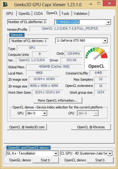 ASUS Strix GTX 960 DirectCU2 OC 4GB - GPU Caps Viewer - OpenCL