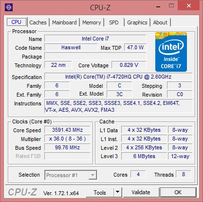 ASUS G551JW gaming notebook - CPU-Z