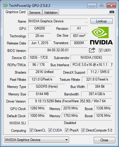 NVIDIA GeForce GTX 980 Ti, GPU-Z