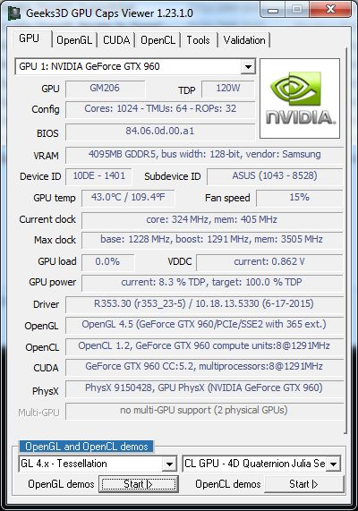 NVIDIA R353.30 + GTX 960 - GPU Caps Viewer