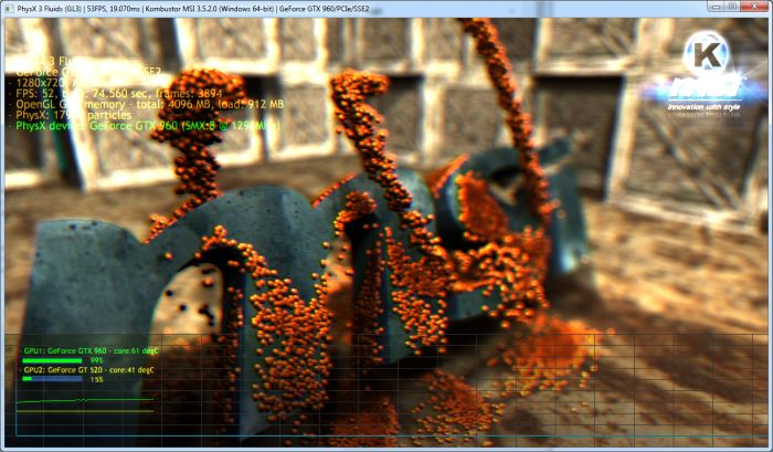 MSI Kombustor - PhysX 3 fluid simulation demo
