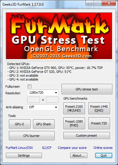 FurMark, main user interface