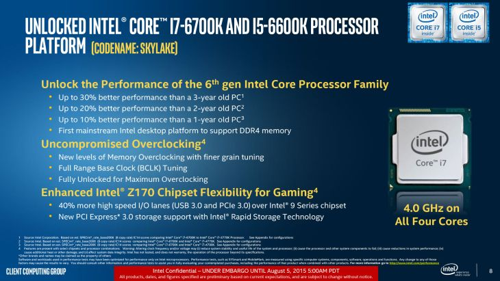 Intel Skylake slides