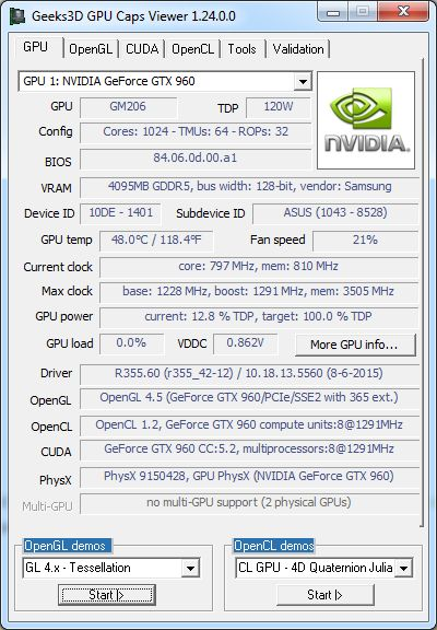 R355.58 + GTX 960 + GPU Caps Viewer