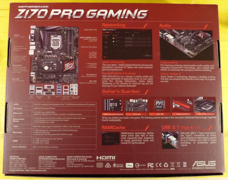ASUS Z170 Pro Gaming Motherboard Unboxing