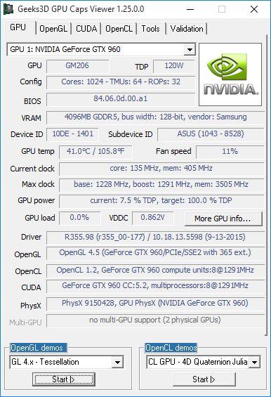 NVIDIA R355.98 driver - GeForce GTX 960 - GPU Caps Viewer