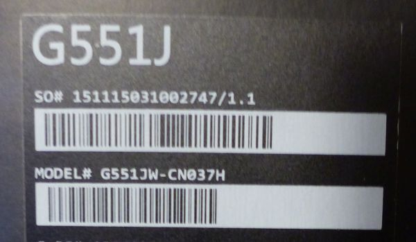 ASU G551J box reference