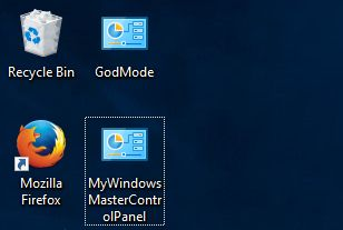 Windows 10 GodMode folder on desktop