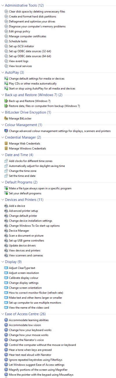 Windows 10 GodMode folder tools