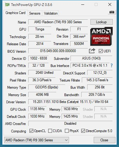 AMD Radeon R9 380X - GPU-Z