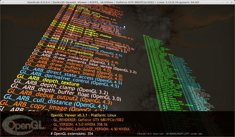 GeeXLab OpenGL extensions viewer - Linux - GTX 680