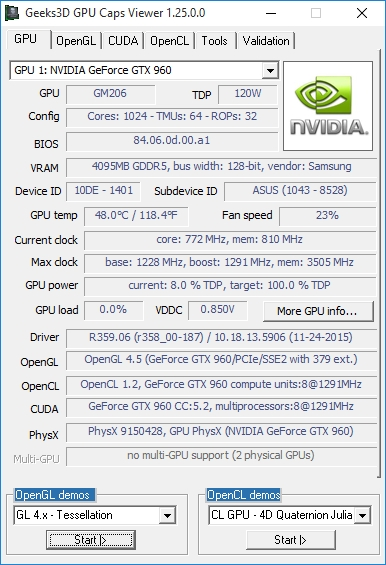 NVIDIA R359.06 WHQL - GPU Caps Viewer - GeForce GTX 960