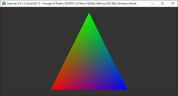 GeeXLab - Direct3D 12 demo - RGB Triangle
