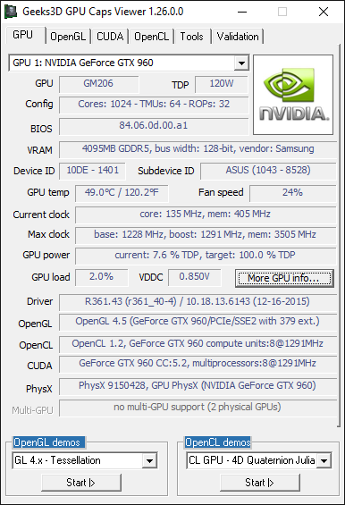 NVIDIA R361.43 - GTX 960 + GPU Caps Viewer