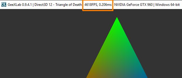 Direct3D 12 triangle rendered on a GTX 960