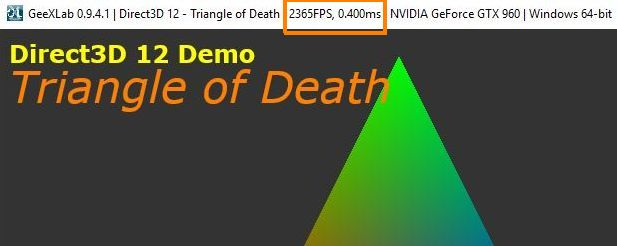 Direct3D 12 triangle + Direct2D text rendered on a GTX 960