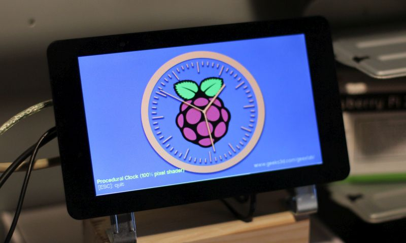 GeeXLab clock demo running on the Raspberry Pi 2 with a 7-inch touchscreen display