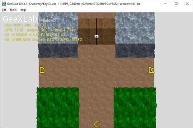 GeeXLab demo - Shadertoy Key Quest