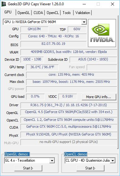 NVIDIA R361.75 + GeForce GTX 960M + GPU Caps Viewer