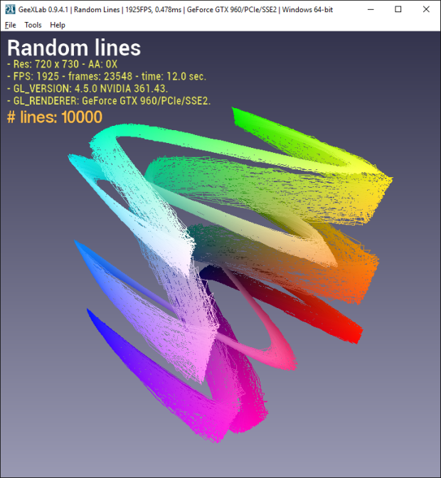 Random lines with GeeXLab