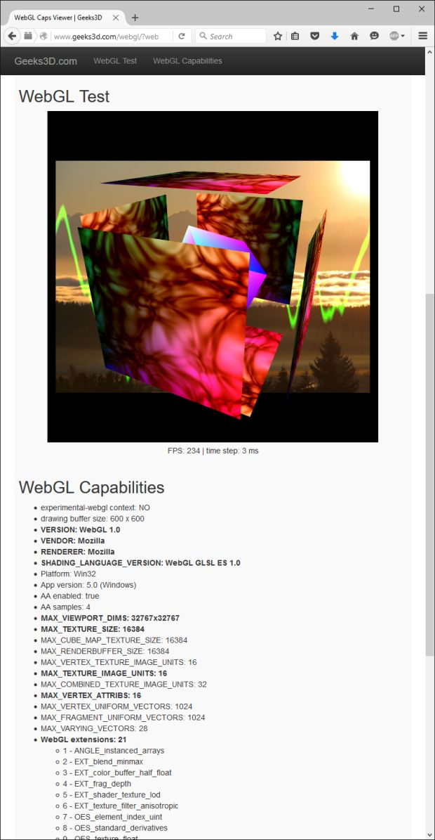 WebGL Caps Viewer