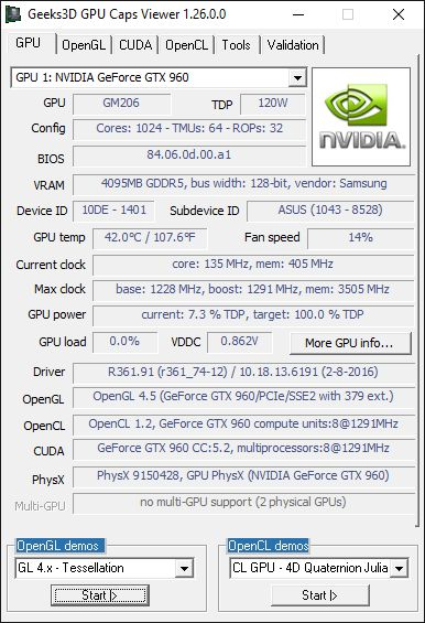 GPU Caps Viewer - GTX 960 + R361.91