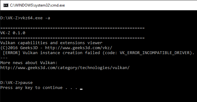 VK-Z Vulkan error on AMD