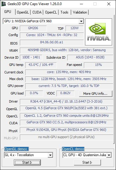 Geeks3D GPU Caps Viewer-NVIDIA R364.47 + GeForce GTX 960 + GPU Caps Viewer
